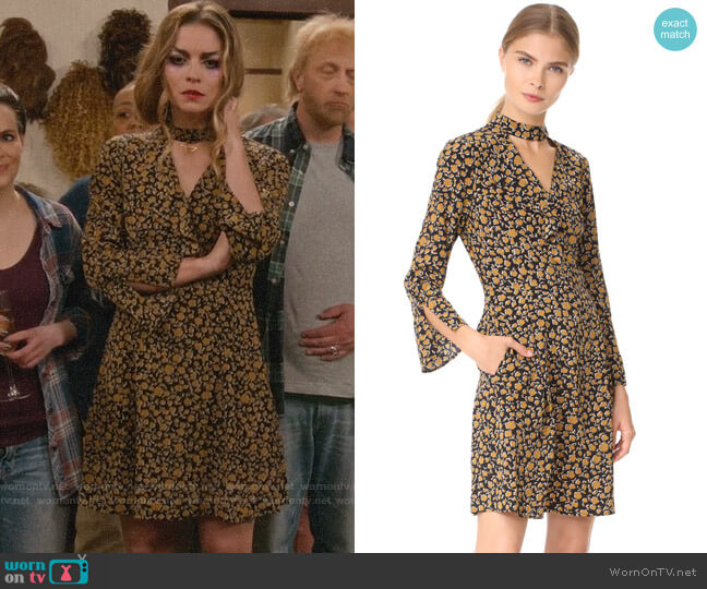 Derek Lam 10 Crosby Cascade Shift Dress with Bell Sleeves worn by Alexis Rose (Annie Murphy) on Schitts Creek