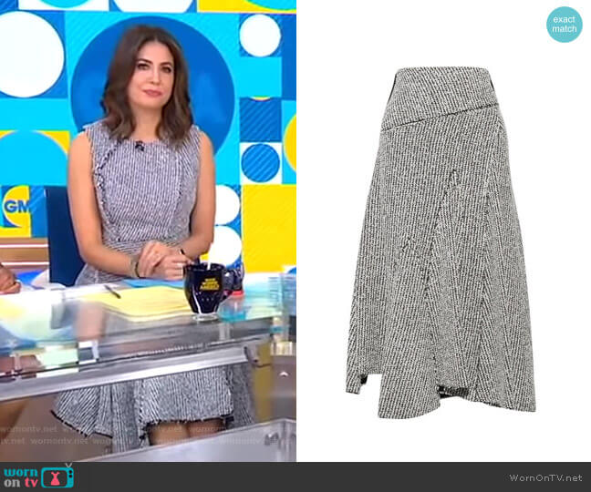 Asymmetric Frayed Bouclé Midi Skirt by 3.1 Phillip Lim worn by Cecilia Vega  on Good Morning America