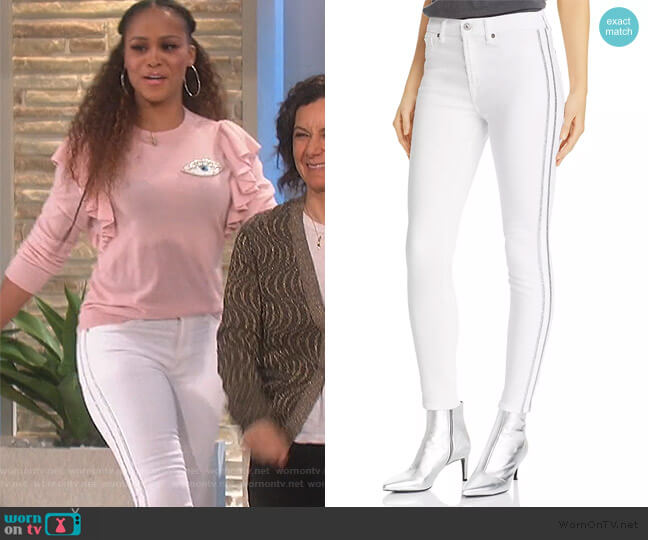 Side-Stripe Ankle Skinny Jeans by 7 For All Mankind worn by Eve  on The Talk