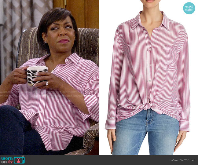 7 For All Mankind Striped High/Low Shirt worn by Tina (Tichina Arnold) on The Neighborhood