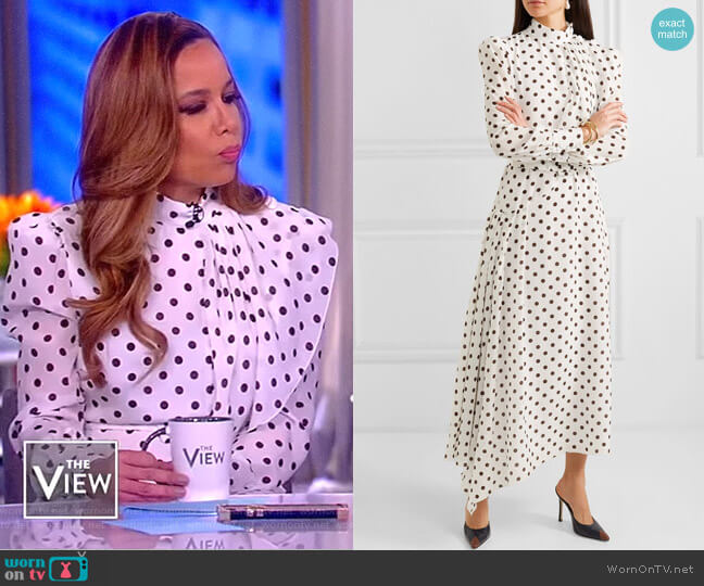 Asymmetric polka-dot silk Dress by Alessandra Rich worn by Sunny Hostin  on The View