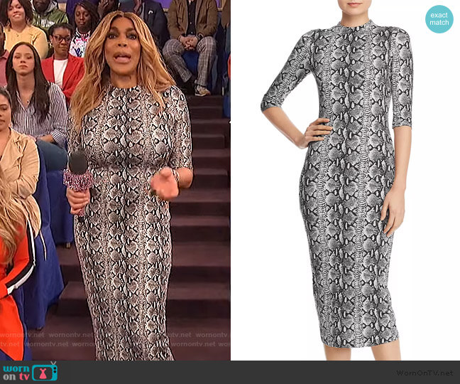 Delora Snake Print Midi Dress by Alice + Olivia worn by Wendy Williams  on The Wendy Williams Show