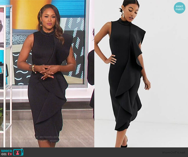 Lavish Alice frill detail scuba midi dress in black by ASOS worn by Eve  on The Talk