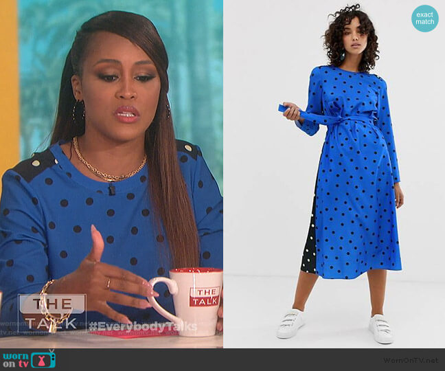 long sleeve midi dress in polka dot by ASOS worn by Eve (Eve) on The Talk