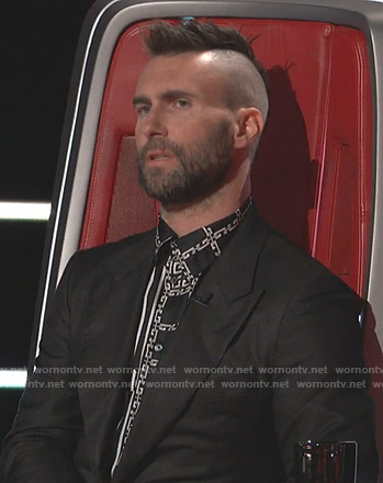 Adam Levine's black chain print shirt on The Voice