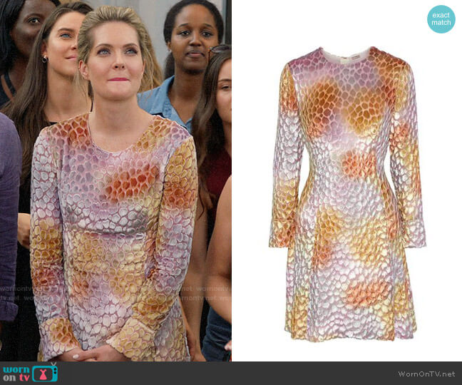 Adam Lippes Flocked chiffon mini dress worn by Sutton (Meghann Fahy) on The Bold Type