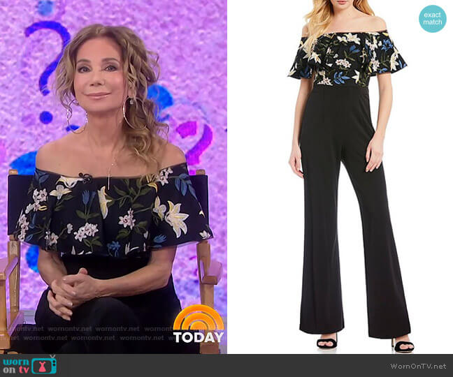 Off-the-Shoulder Floral Embroidered Popover Jumpsuit by Adrianna Papell worn by Kathie Lee Gifford  on Today