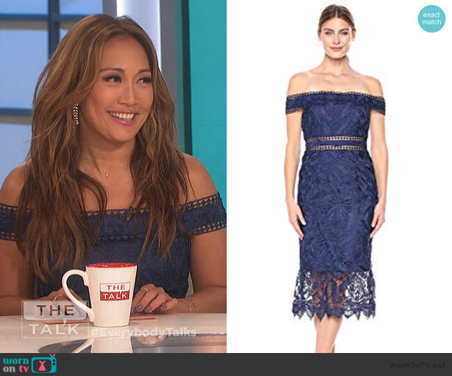 Off Shoulder Lace Dress by Aidan Mattox worn by Carrie Inaba  on The Talk