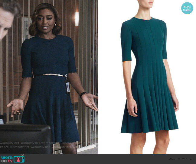 Elbow Sleeve A-Line Pleat Dress by Akris worn by Daisy Grant (Patina Miller) on Madam Secretary