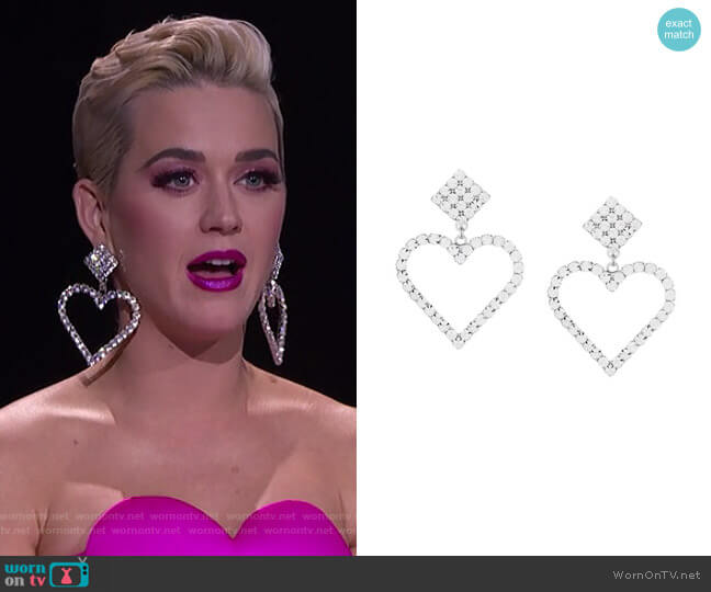 Crystal Heart Earrings by Alessandra Rich worn by Katy Perry  on American Idol