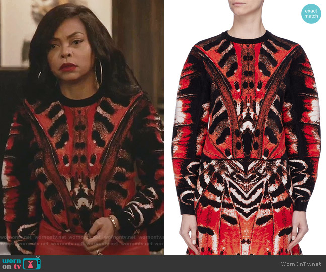 Tiger Butterfly Wing Jacquard Knit Top by Alexander McQueen worn by Cookie Lyon (Taraji P. Henson) on Empire