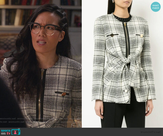 checked tie-front jacket by Alexander Wang worn by Doris (Ali Wong) on American Housewife