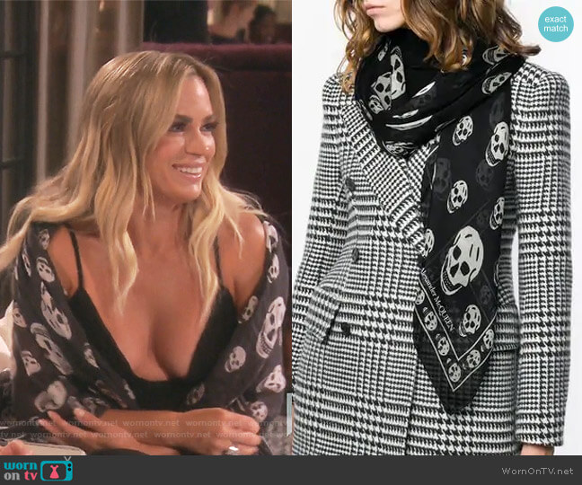 Skull-Pattern Scarf by Alexander McQueen  worn by Teddi Mellencamp Arroyave  on The Real Housewives of Beverly Hills