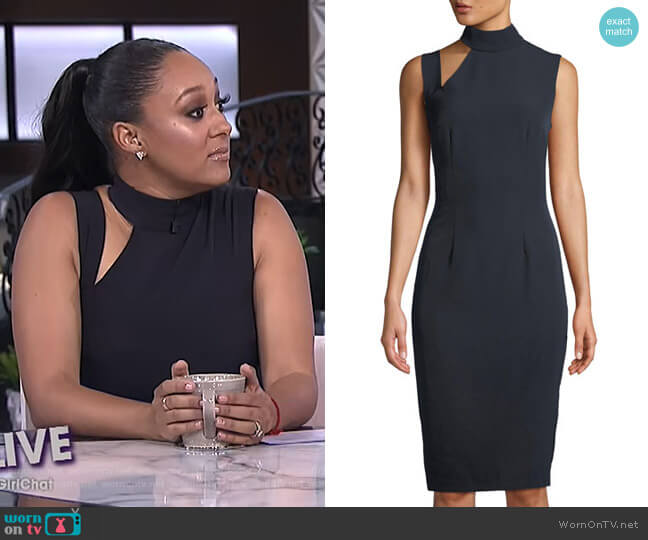 Cutout Mock-Neck Sheath Dress by Alexia Admor worn by Tamera Mowry (Tamera Mowry) on The Real