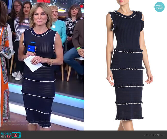 Ruffle Stripe Crochet Knit Midi Dress by Alexia Admor worn by Amy Robach  on Good Morning America