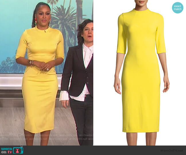 Delora Dress in Canary by Alice + Olivia worn by Eve (Eve) on The Talk