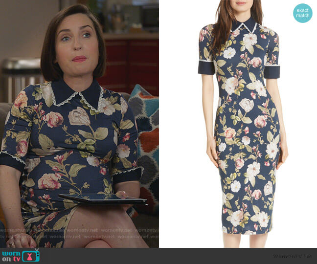 Delora Fittted Floral Dress by Alice + Olivia worn by Jennifer Short (Zoe Lister-Jones) on Life in Pieces