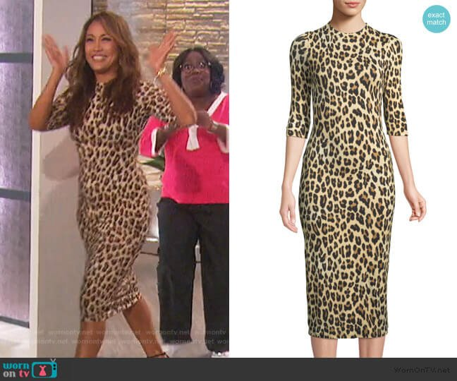 Delora Fitted Leopard Mock-Neck Dress by Alice + Olivia worn by Carrie Inaba  on The Talk