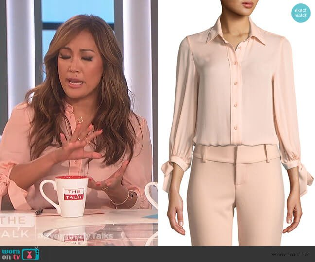 Simon Tie-Sleeve Button-Down Top by Alice + Olivia worn by Carrie Inaba  on The Talk