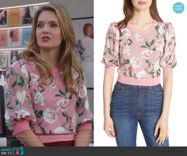 Brandy Floral Puff Crop Sweater by Alice + Olivia worn by Sutton (Meghann Fahy) on The Bold Type