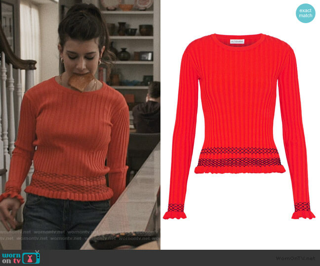 Malou embroidered ribbed-knit sweater by Altuzarra worn by Allison McCord (Kathrine Herzer) on Madam Secretary