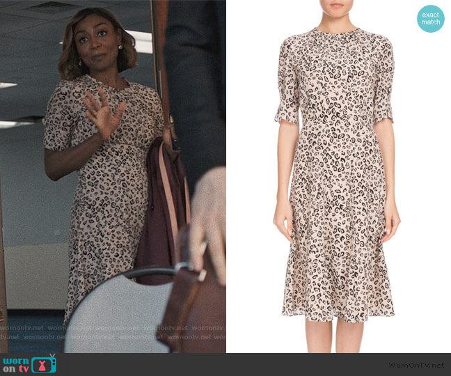 Jae Shirred-Neck Leopard-Print Silk Dress by Altuzarra worn by Daisy Grant (Patina Miller) on Madam Secretary