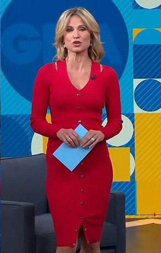 Amy's red button front cutout dress on Good Morning America