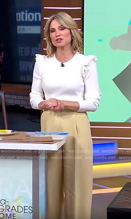 Amy's white ruffled top and beige pants on Good Morning America