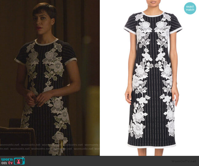 Round-Neck Cap-Sleeve Metallic-Pinstripe Dress with Lace Applique by Andrew Gn worn by Lucca Quinn (Cush Jumbo) on The Good Fight