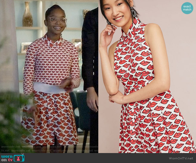 Ann Howell Bullard x Anthropologie Smooched Shirtdress worn by Diane Johnson (Marsai Martin) on Blackish