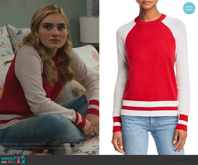 Color-Block Raglan Cashmere Sweater by Aqua Cashmere worn by Taylor Otto (Meg Donnelly) on American Housewife