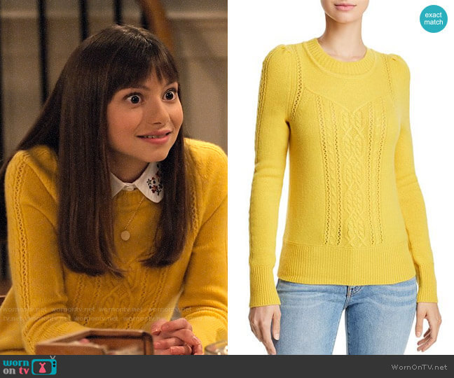 Aqua Mixed Knit Cashmere Sweater in Marigold  worn by Molly (Lauren Lindsey Donzis) on No Good Nick