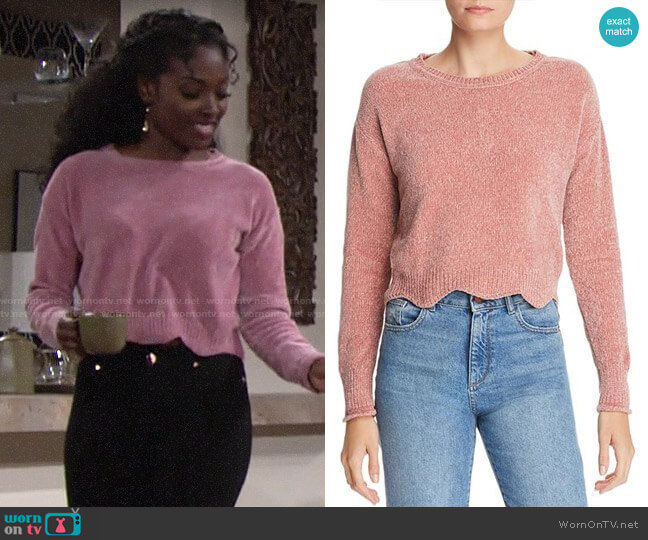 Aqua Scalloped Cropped Chenille Sweater worn by Ana Hamilton (Loren Lott) on The Young & the Restless
