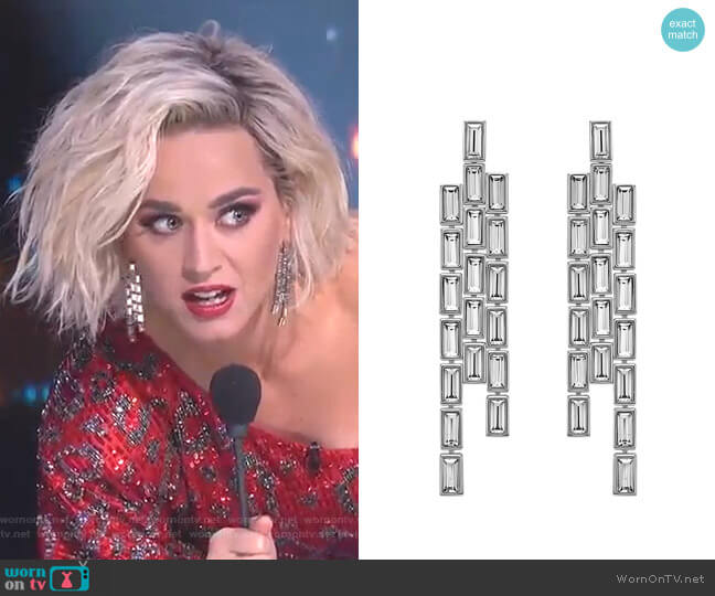 Core Collection Fluid Azzurro Fringe Drop Earrings by Atelier Swarovski worn by Katy Perry  on American Idol