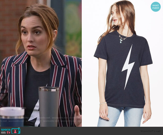 Bolt Crew Tee Shirt by Aviator Nation worn by Angie (Leighton Meester) on Single Parents