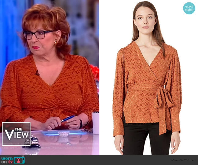 Pleated Shoulder Wrap Top by BCBGMAXAZRIA worn by Joy Behar  on The View