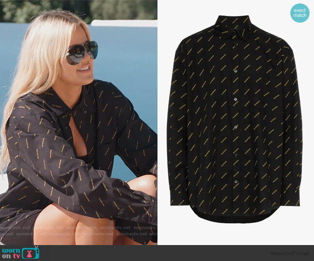 All-Over Logo Print Cotton Shirt by Balenciaga worn by Khloe Kardashian  on Keeping Up with the Kardashians