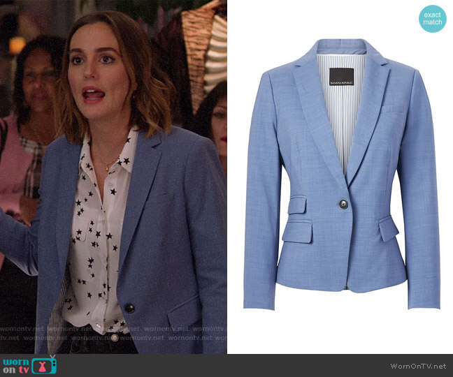 Fitted Crop Lightweight Wool Blazer by Banana Republic worn by Angie (Leighton Meester) on Single Parents