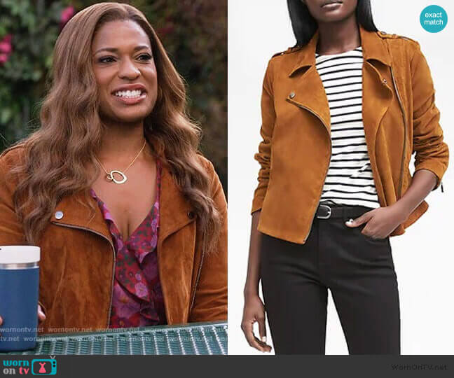 Life in Motion Suede Moto Jacket by Banana Republic worn by Poppy (Kimrie Lewis) on Single Parents