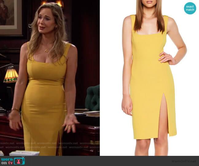 Bardot Leila Dress in Mustard worn by Donna Logan (Jennifer Gareis) on The Bold & the Beautiful