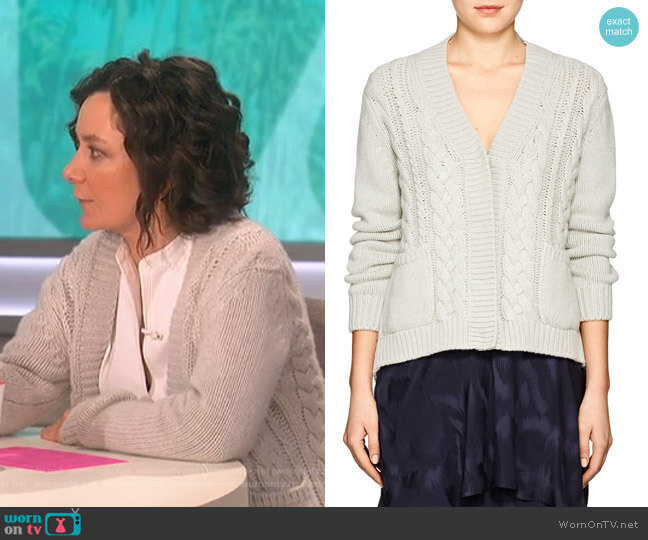 Cable-Knit Cashmere Cardigan by Barneys New York worn by Sara Gilbert  on The Talk