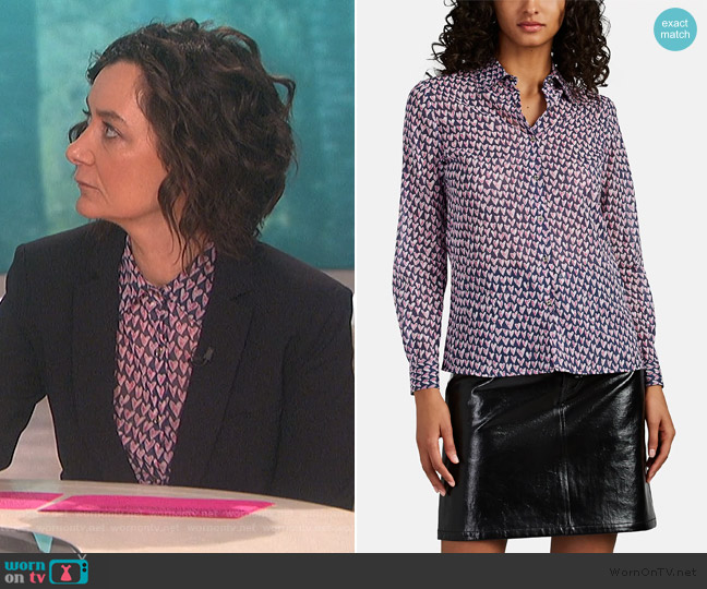 Heart-Print Cotton Voile Blouse by Barneys New York worn by Sara Gilbert  on The Talk