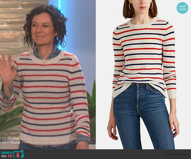 Striped Cashmere Sweater by Barneys New York worn by Sara Gilbert (Sara Gilbert) on The Talk