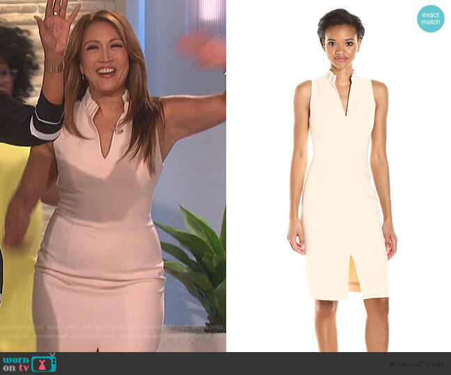 Antoinette Sleeveless Sheath Dress by Black Halo worn by Carrie Inaba  on The Talk
