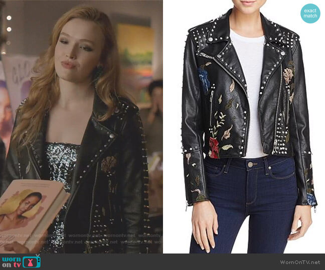 Studded Floral Embroidered Moto Jacket in Budding Romance by Blank NYC worn by Kirby Anders (Maddison Brown) on Dynasty