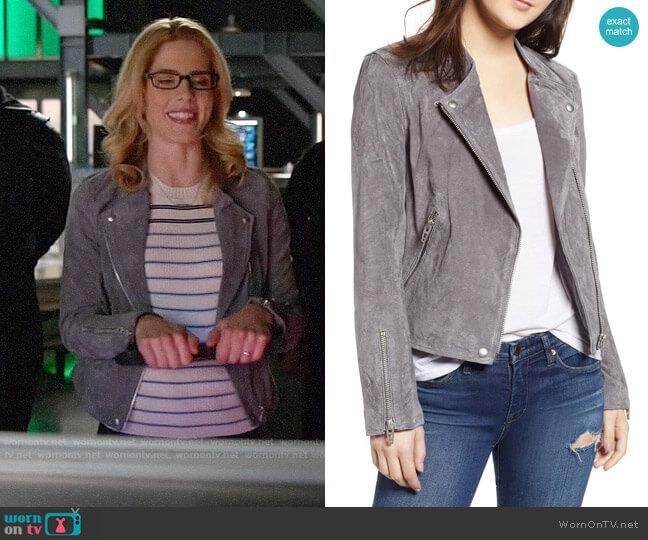 Blank NYC No Limit Suede Moto Jacket worn by Felicity Smoak (Emily Bett Rickards) on Arrow