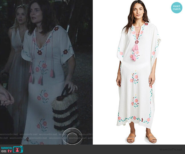 Ophelia Embroidered Caftan by Blue Boheme worn by Heather Hughes (Betsy Brandt) on Life in Pieces