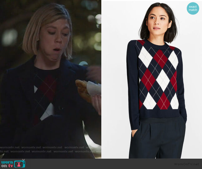 Merino Wool Argyle Sweater by Brooks Brothers worn by Kate Littlejohn (Susannah Flood) on For the People
