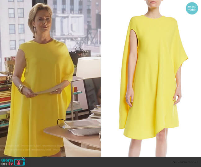 Asymmetric Flowy Silk-Wool Cocktail Dress by Calvin Klein worn by Jacqueline (Melora Hardin) on The Bold Type