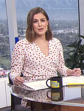 Carissa's white polka dot wrap top on E! News Daily Pop